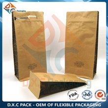 Food Grade Flat Bottom Bag With Pocket Zipper For Coffee Bean with Custom Printing