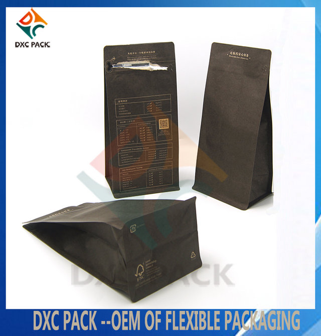 1kg Customized Printing Kraft Paper Flat Bottom Coffee Bag with Pocket Zipper and degassing valve