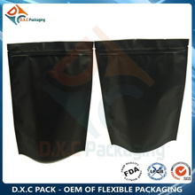 Matte Plastic Aluminum Foil Black Stand Up Pouch For Snack Food Or Other Food Plastic Packaging