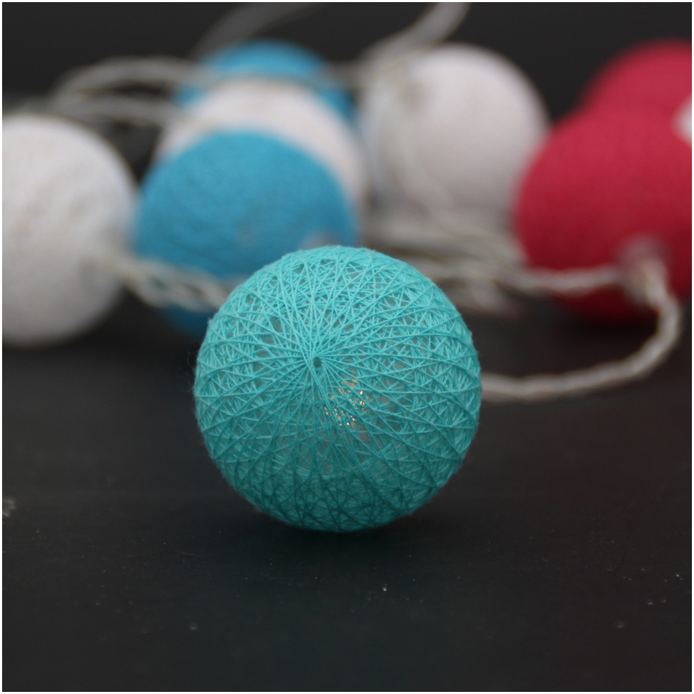 Cotton Ball Light String Christmas Light Holiday Decoration Ball String Light