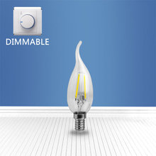 Dimmable filament glass bulb CL35 2W