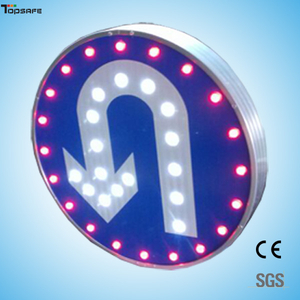 Solar LED round Turn around sign