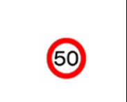 traffic Sign Maximum speed 50 KPH