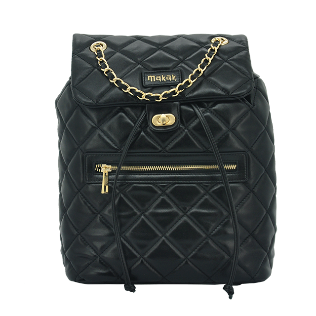 Ladies qulited leather backpack
