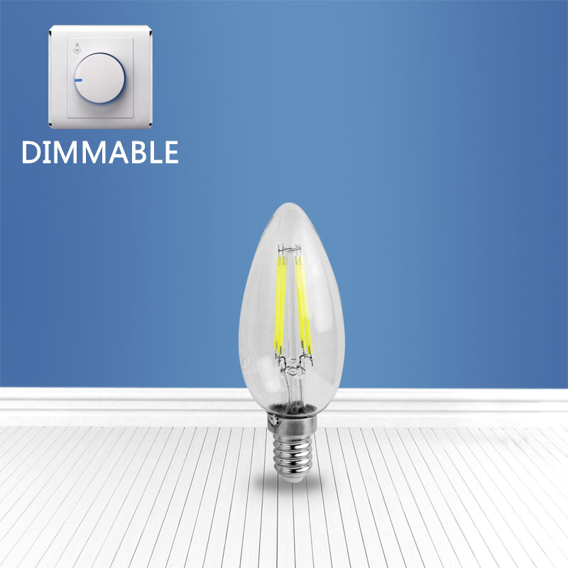 dimmable filament glass bulb C35 4W
