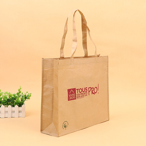 New product eco-friendly Reusable brown carrier quadrillage Heavy Duty and Strong Paper Handle Take Away Gift Bag