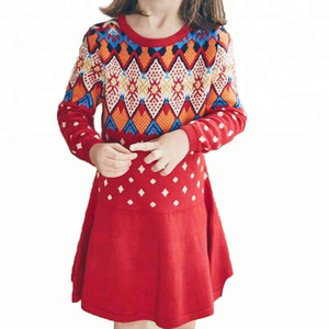 Wholesale Girls Autumn Winter Knitted Cotton Cashmere Smart Long Sleeve Christmas Knitted Dress