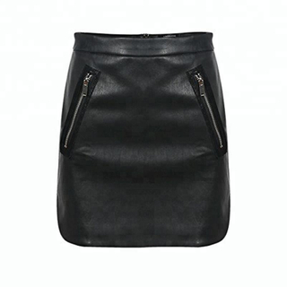 P18E040BE women basic solid casual mini wrap leather skirt with zipper pocket