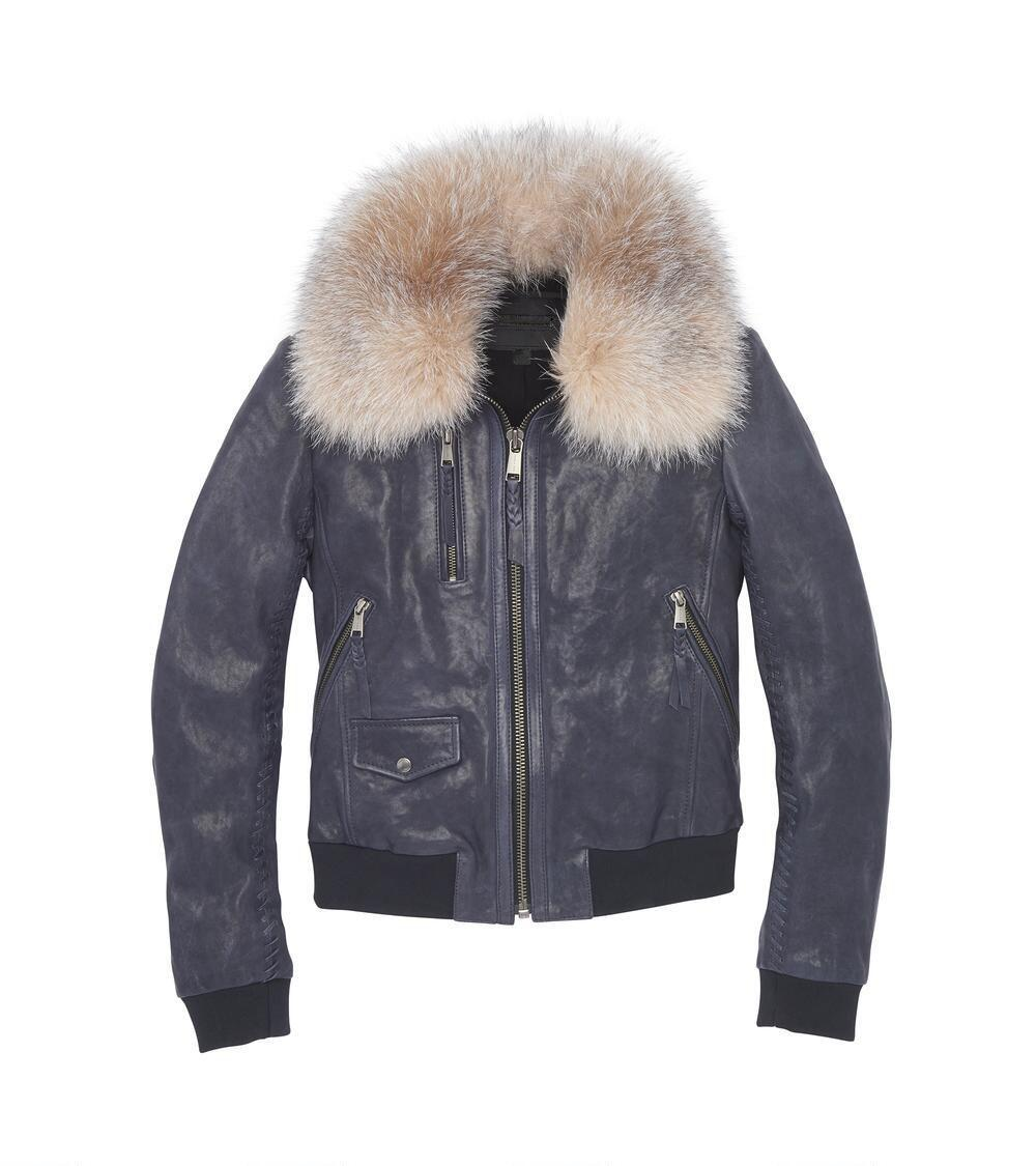 P18E029BW Hot sale up to date fashion genuine lamb leather jacket for women with a removable fur collar