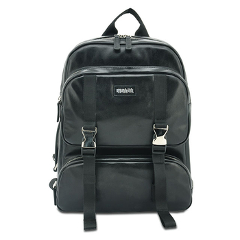 Black leather backpack for girls