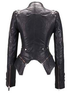Women's Fashion Studded Perfectly Shaping Sheep Leather Biker Jacket