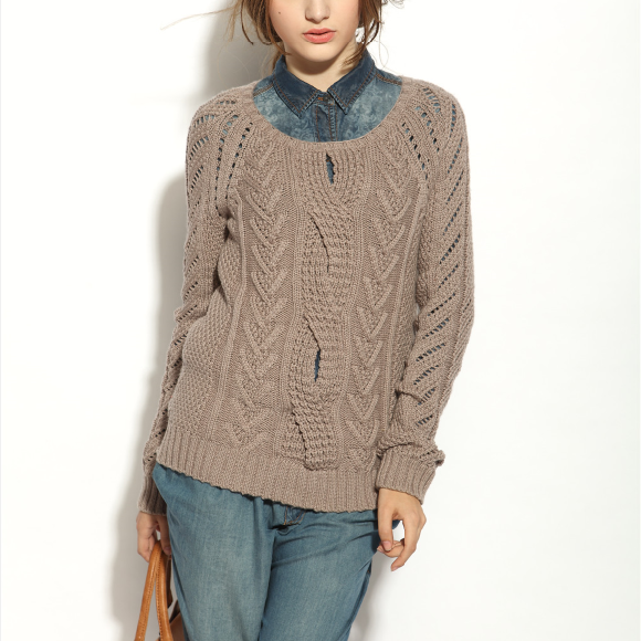 17PKCS137 2017 Knit Wool Cashmere Knitted Lady Sweater