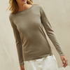 P18B024BW High quality new design latest fashion women crew neck cashmere lightweight sweater jumper with sparkling effect