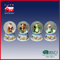Different Style Christmas Souvenir Glass Water Globe Round Snow Ball for Xmas Decoration with LED