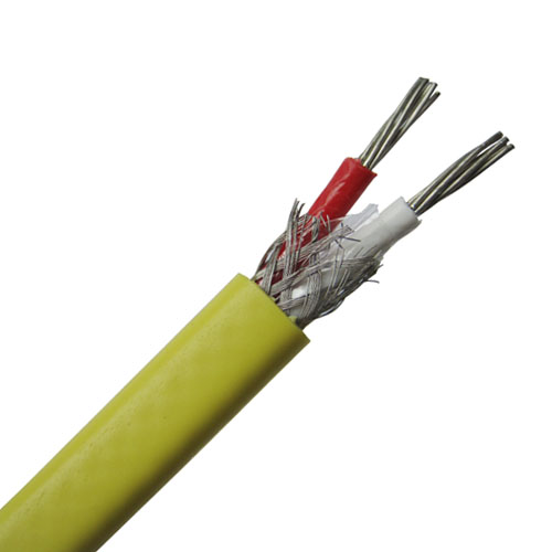 PVC insulated thermocouple extension wire with stainless steel inner shield--Single pair, flat