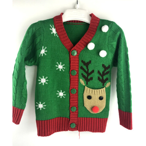 Kids Holiday Knitted Acrylic Festival Christmas Cardigan Sweater