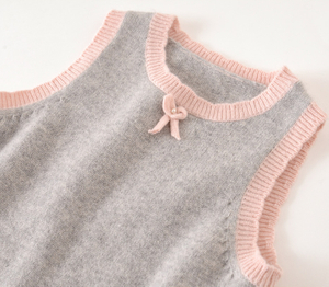 P18B021CH Hot Sale baby Knit 100% Cashmere children's sleeveless Knit Vest dress Sweater