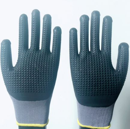 15G nylon + lycra with micro nitirle foam dotted gloves