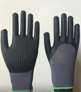 15G nylon + lycra with micro nitirle 3/4 dotted gloves
