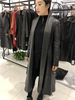 Long trench women black leather latest fashion coat sheep leather