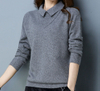 PK18ST067 lily collar cable knit cashmere sweaters for women