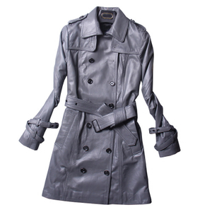 P18E089BE ladies autumn long sleeve high quality sheepskin leather long wind jacket coats with pockets and buttons