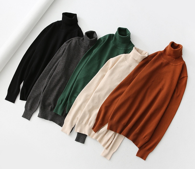 Women's autumn winter OEM wool or cashmere knitted turtleneck pullover sweater