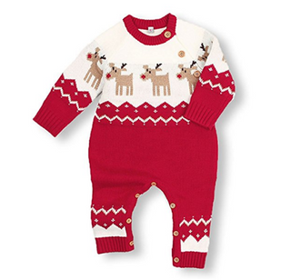 Baby Christmas sweater Romper Toddler Knitted Reindeer Red Jumpsuit Clothes