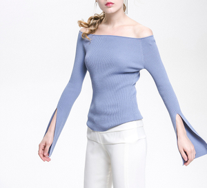 PK18CH004 knit wool cashmere knitted lady sweater boat neck off shoulders pullover
