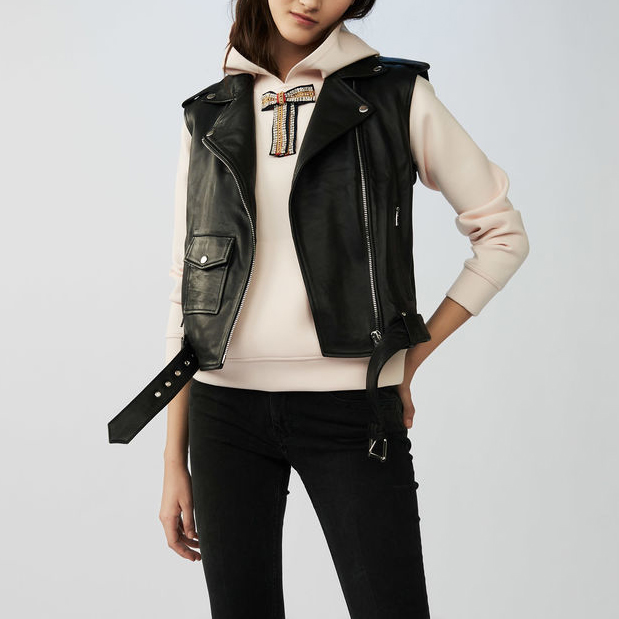 P18E034BW Hot sale fashion genuine lamb leather vest for women all seasons