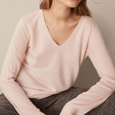 P18B020BW V-neck long sleeves women's cashmere sweater jumper for lady,solid color, straight fit