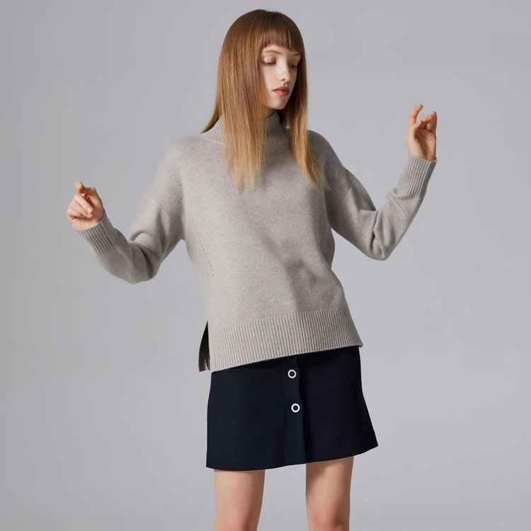 2019 ladies 100%cashmere sweater knitted half collar slit jumpers sweater