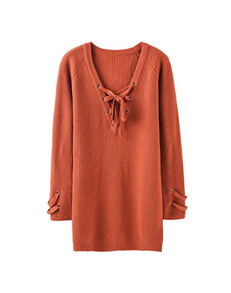 PK18A60HX Women's Loose Pullover Sweater Dress Cashmere Knit Long Sleeve Sex V-Neck