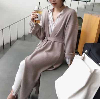 P18B097CH high quality fine knit wool cashmere solid color women winter coat long sleeves side slit bathrobe cardigan sweater