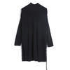 P18B105BE women's autumn winter cashmere knitted solid color turtle neck cable design long dress sweater