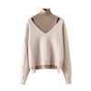 Women's wool cashmere knitted pullover sweater twinset jumpers