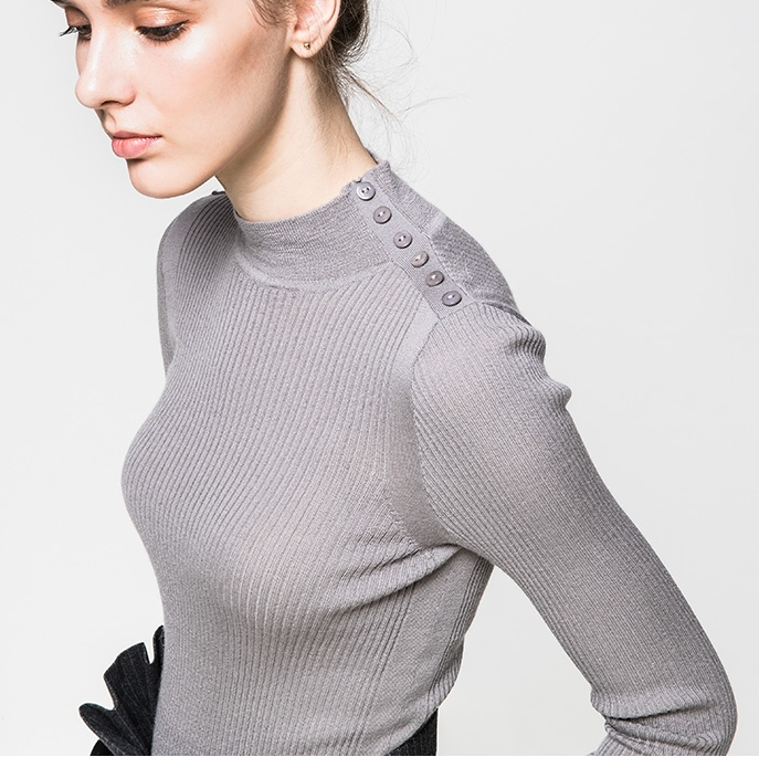 P18B019CH slim fit rib knit mock turtle neck wool cashmere lady sweater