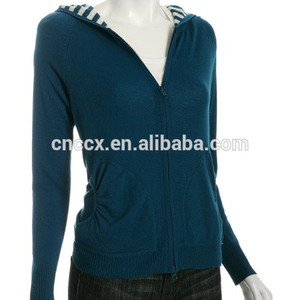 15STC6804 striped lining sweater cashmere hoodie women