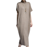 P18B02TR pure cashmere round collar sexy ladies sweater short sleeve long dress