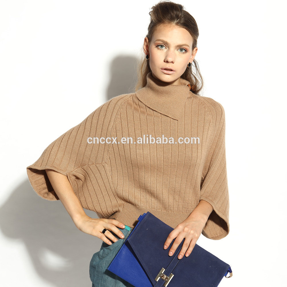 16STC8058 turtle neck ladies cashmere pullover high tech knitting