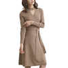 P18B184CH knit cotton cashmere long sleeve fitted cut out v neck knitted lady sweater dress