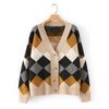 2019 Spring Women's Wool Cashmere Knit Blank Sweater Cardigan with Diamond Jacquard