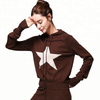 Women's autumn winter OEM wool or cashmere knitted stars jacquard hoodie pullover sweater