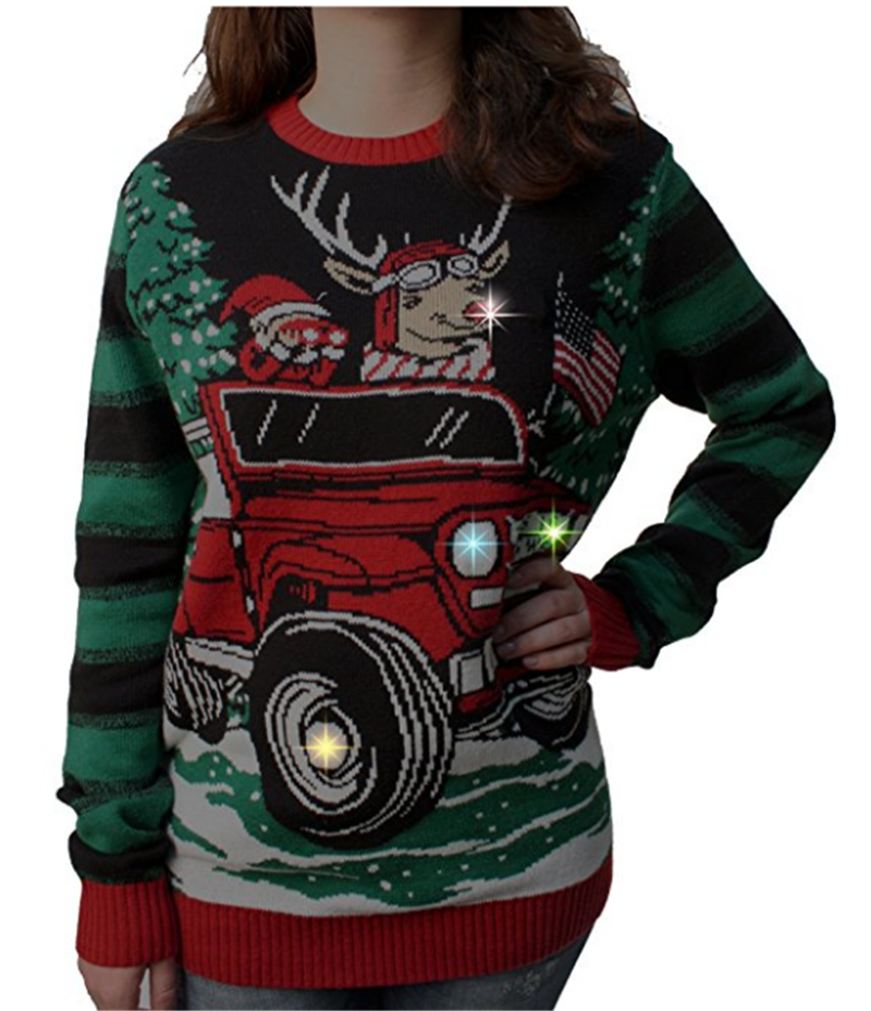 P18A89HX Ugly Christmas Sweater Plus Size Women LED Light Up Pullover Christmas Sweater