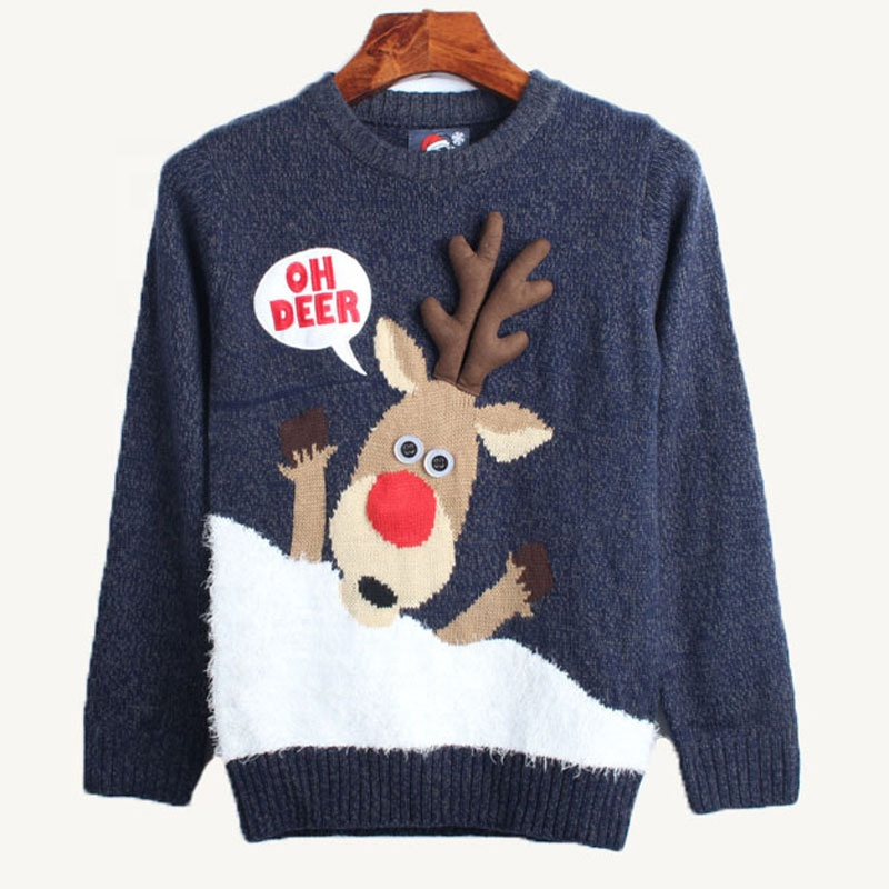 Unisex adults hotsale reindeer sweater knitted deer horn ugly christmas jumpers