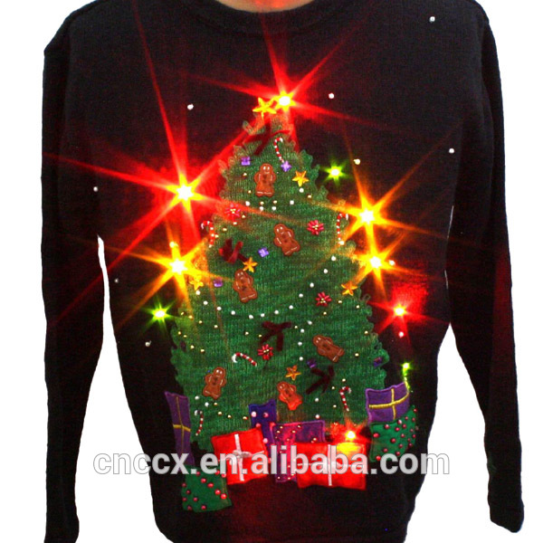 PK14A8052 festival ugly christmas sweater with LED lights