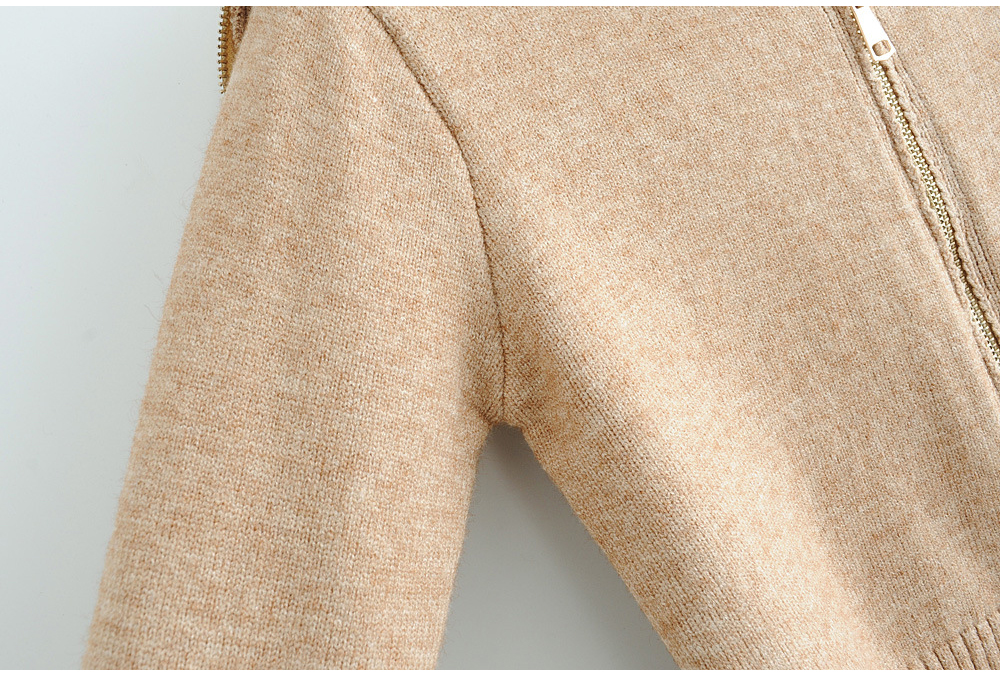 Women's autumn winter OEM wool or cashmere knitted zip up hoodie sweater cardigan