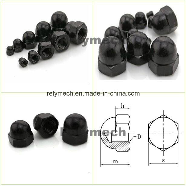 Black Zinc Round Head/Hex Head Cap Nut for Fasteners