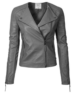 Hot sale Women's Long Sleeve Zipper Closure Moto Biker Leather Jacket