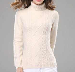 PK18ST063 turtle neck creamy cable knit cashmere sweaters for women